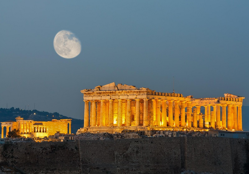 Moon, Night, Parthenon, The Acropolis and Environs, Athens